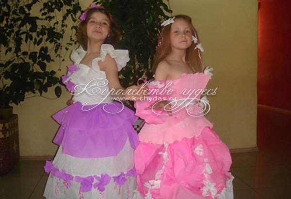 Платье из гофрированной бумаги своими руками на конкурс для девочки 24